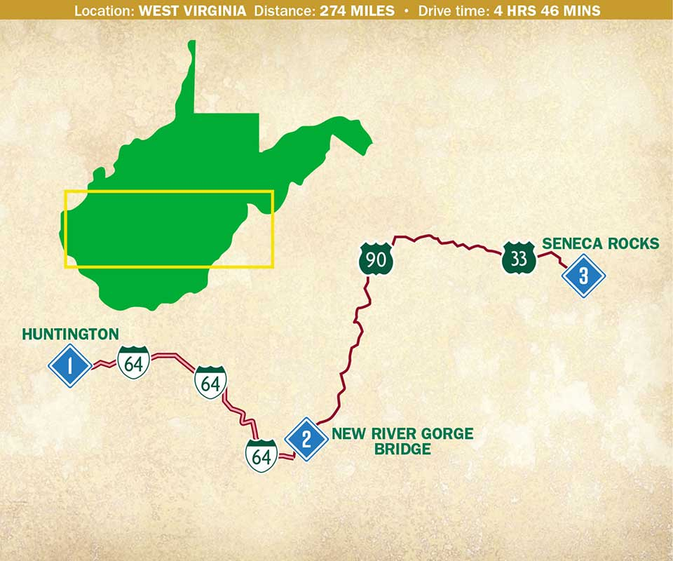 A map indicated a West Virginia road trip through the bottom half oft the state.