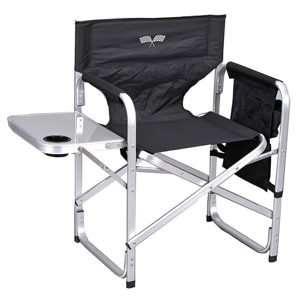 Black Ming's Mark Inc Director's Folding Chair against a white background