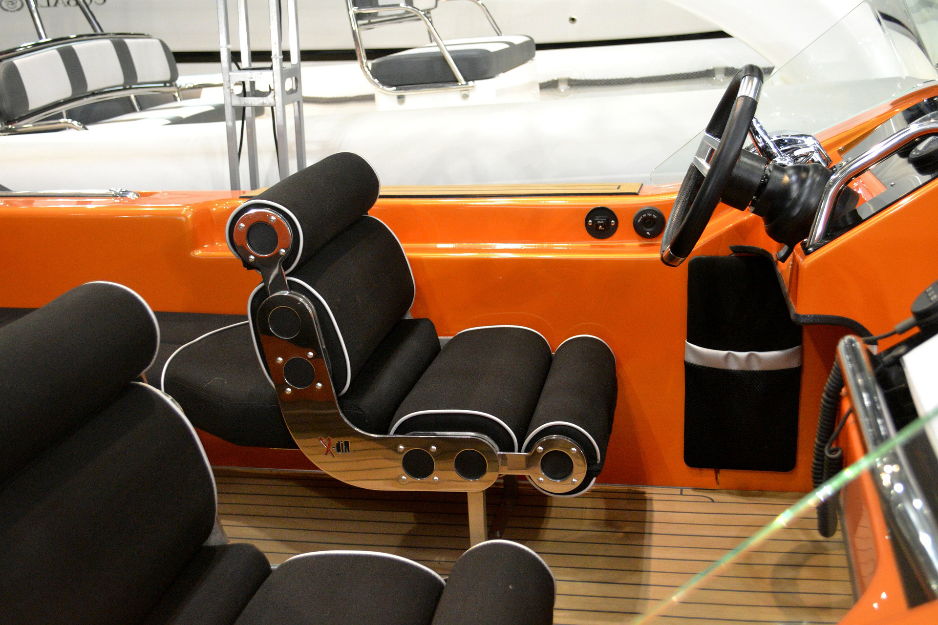 Interior of a modernistic pleasure craft.
