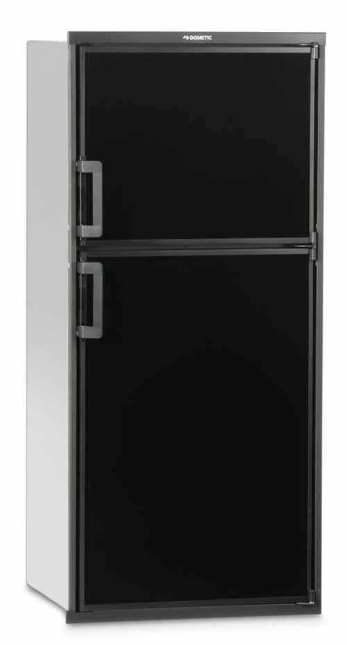 A black refrigerator with freezer on the top.
