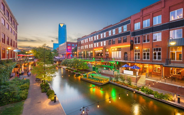 Oklahoma City cityscape in Bricktown at dusk
