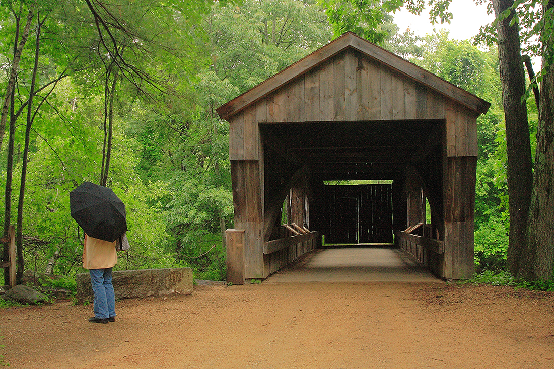 Covered bridge built in Colonial style. Getty Images