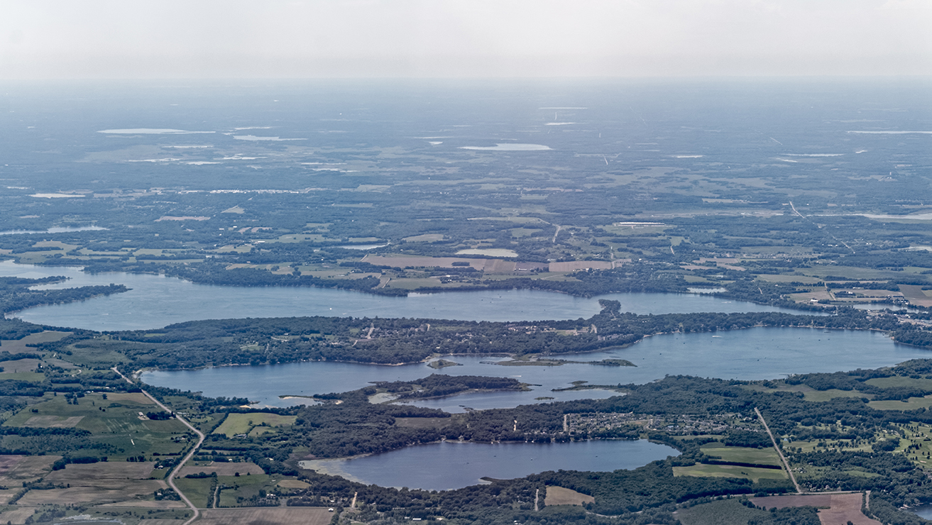 An aerial photo of a chain of lakes.