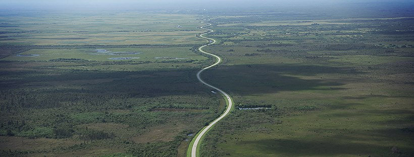 Aerial shot of a road that winds like a snake.