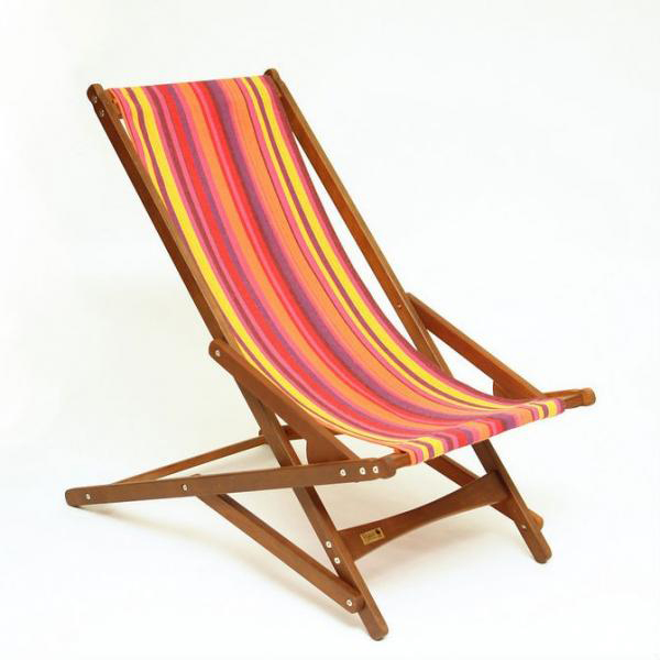 A folding chair with colorful stripes