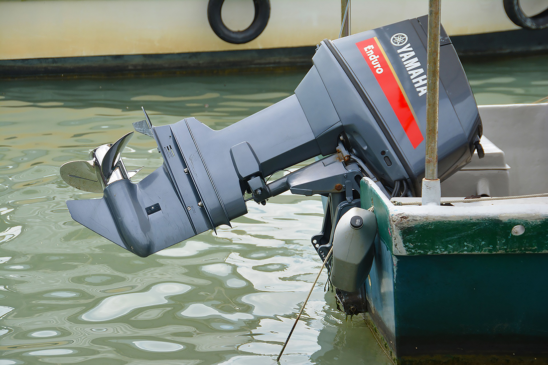 Outboard Yamaha engine attached to watercraft