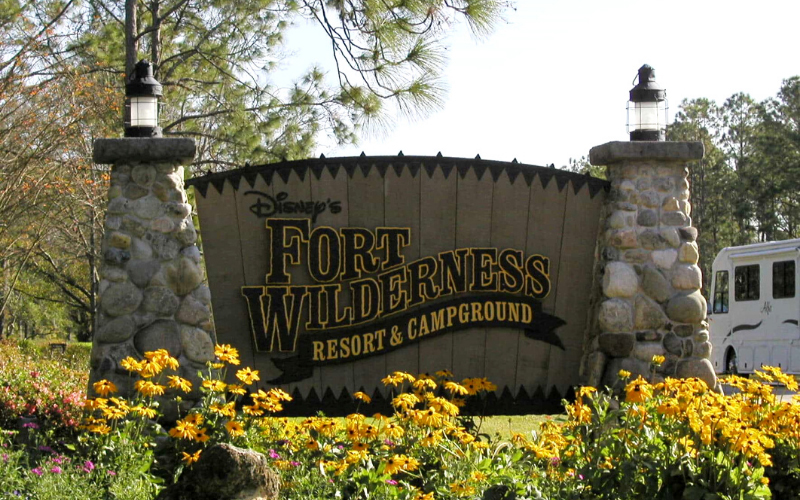 "A sign proclaiming ""Fort Wilderness Campground."
