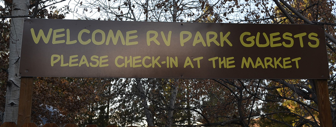 Welcome sign for Truckee River RV Park