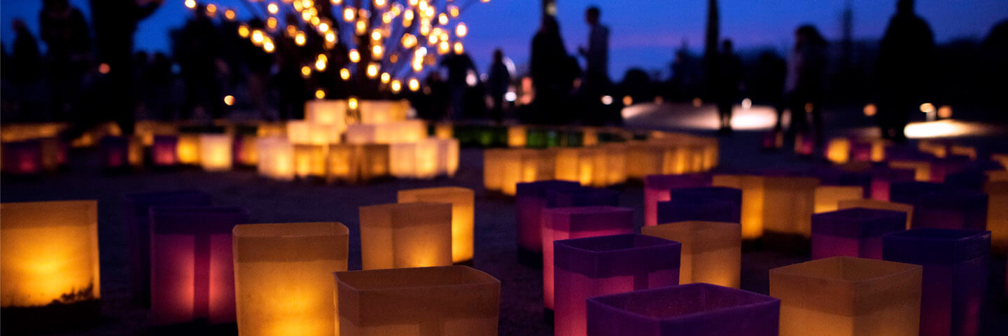 Colorful luminarias in a garden setting. Photo: Desert