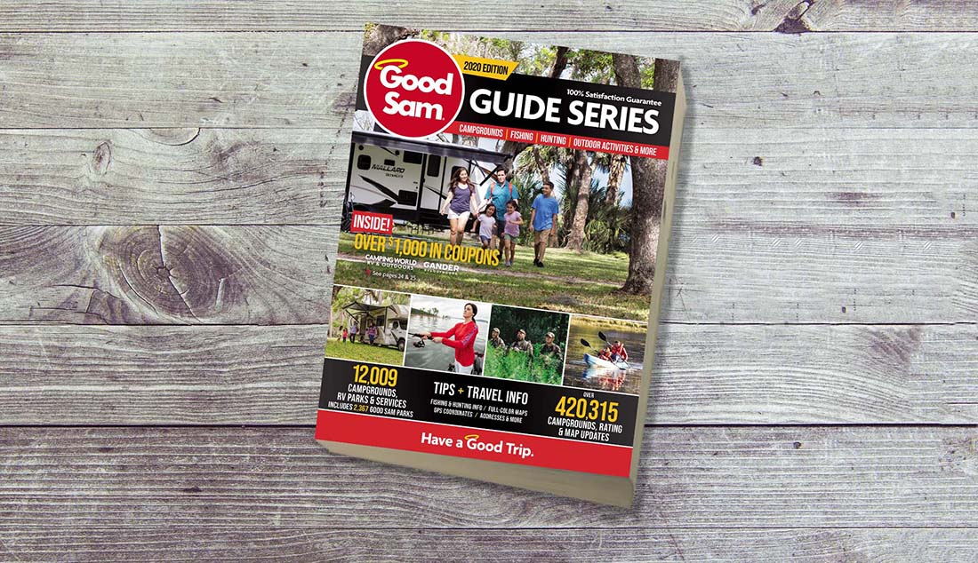Good Sam Guide Series 2020 Edition on a wooden table.