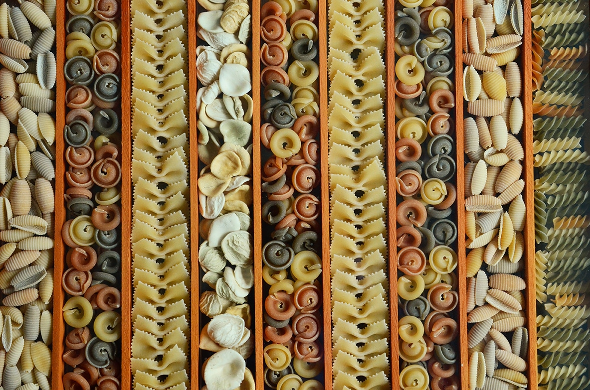 An array of pasta varieties.