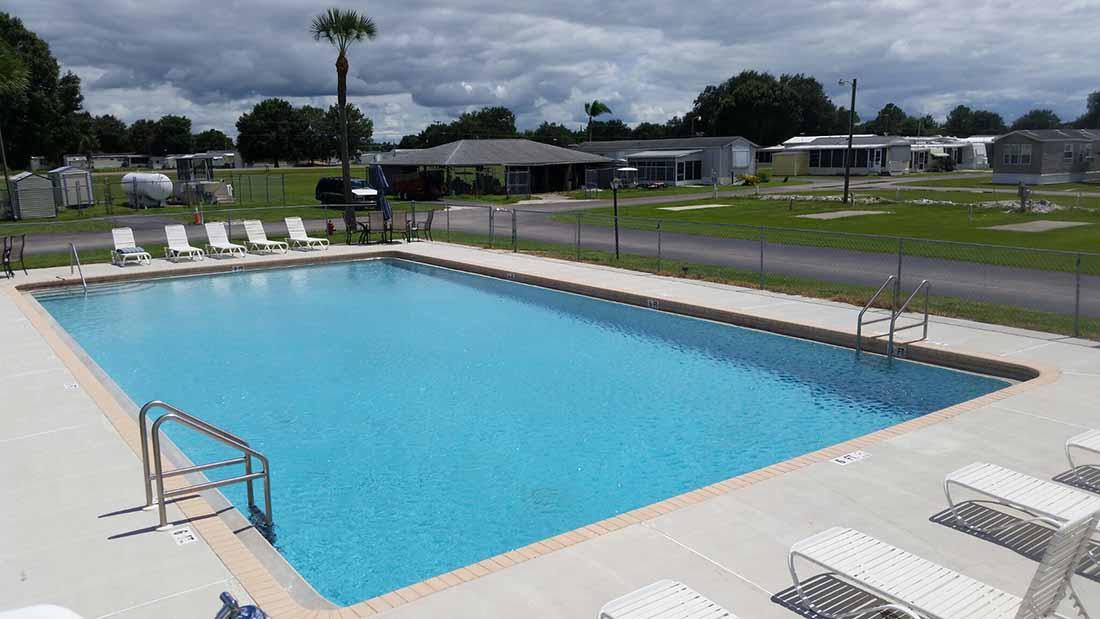 A sprawling rectangular pool amid an RV resort.