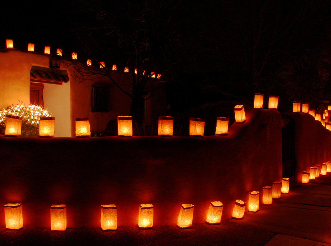 Luminarias -- or farolitos as they're called in Santa Fe -- are a Christmas Eve tradition in New Mexico.