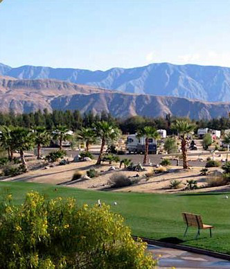 A desert RV park with lush greenbelts.