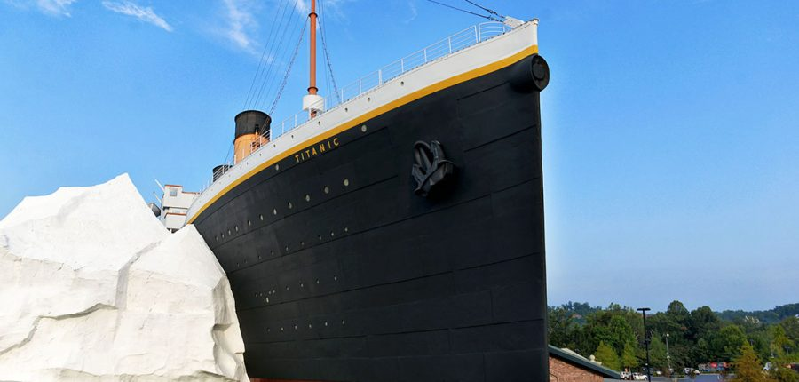 Smoky Mountains for Kids — replica of the Titanic crashing into an