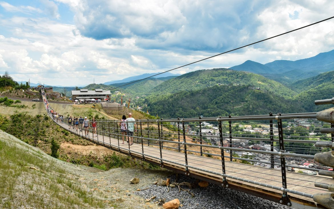 Sky bridge in Gatlinburg with people walking across