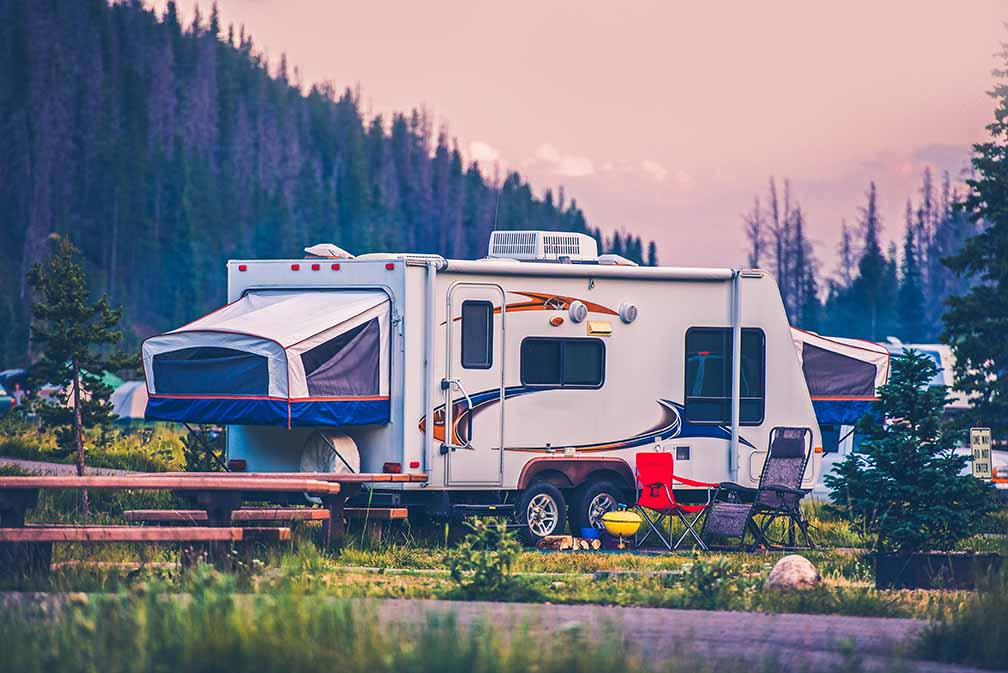 Travel Trailer Pop Up Style Camping in Colorado.