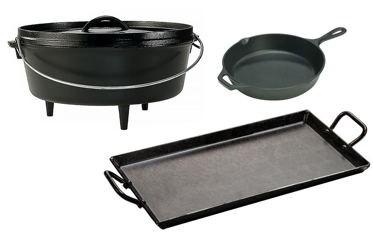 An array of black cookware.