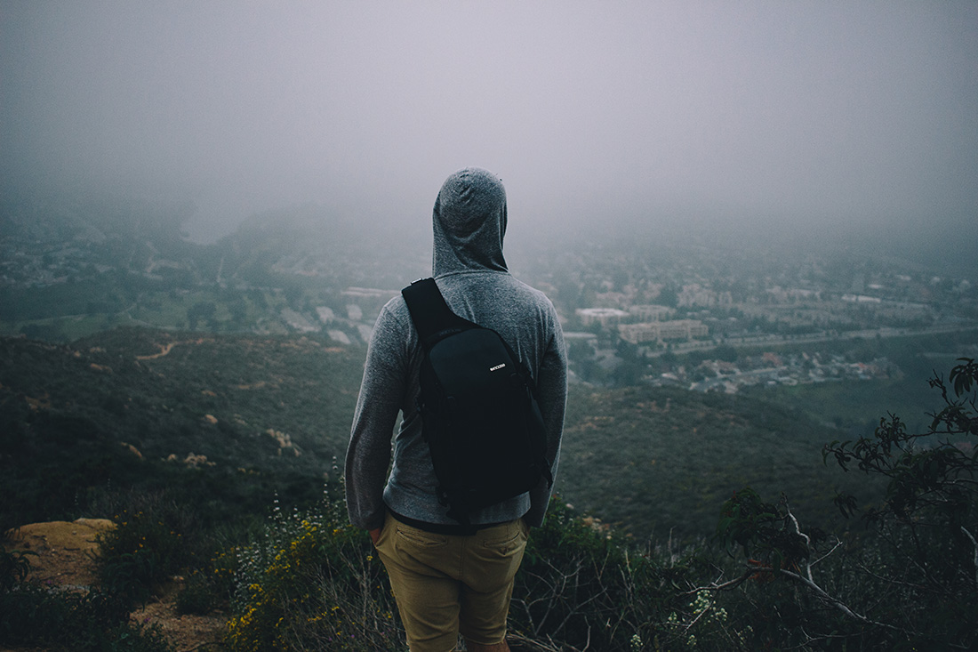 View of fog-shrouded San Diego from a high elevation