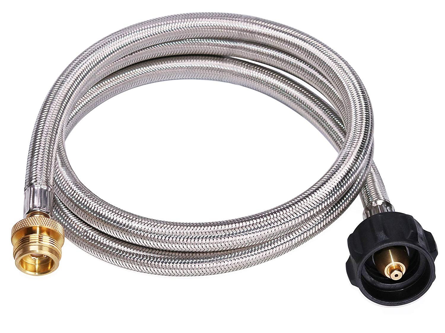 Silver-braided hose coiled up