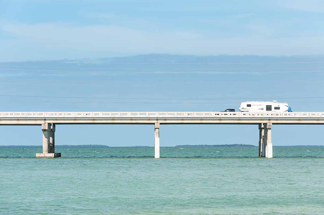 RV traveling on Seven Mile bridge of Overseas Highway between Florida Keys, USA