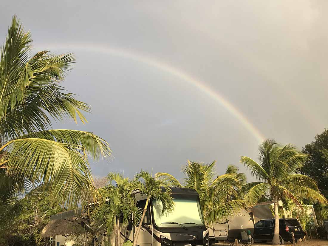 Beautiful rainbow over an RV park