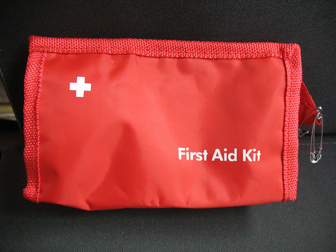 Bright red First Aid bag