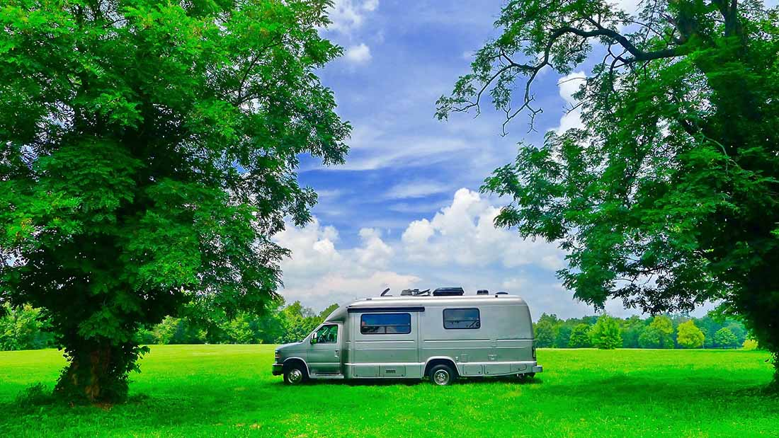 RV Camping Kentucky Horse Park on green grass