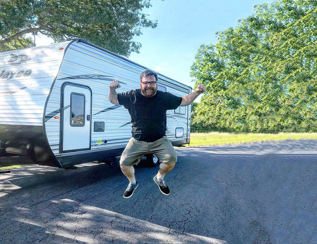 New RV owner jumps for joy