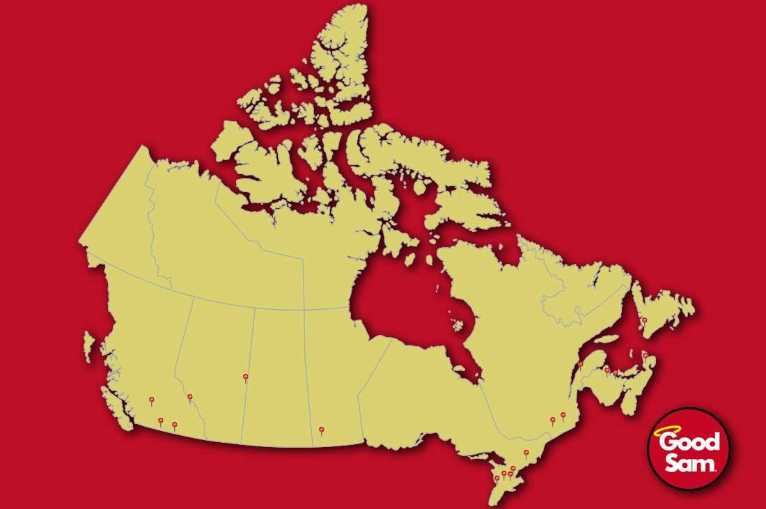 Canada map with location pins in specific areas with Good Sam logo in bottom right corner.