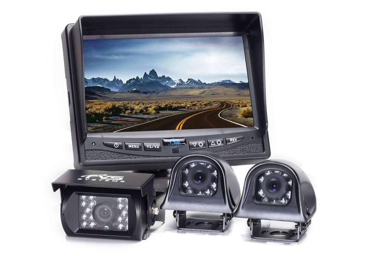Rearview camera system with camera and monitors.