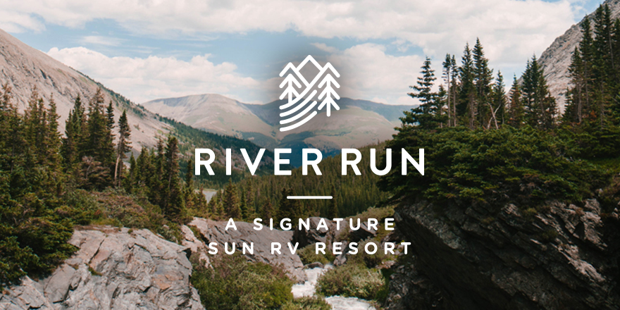 Scene of Rocky Mountains with River Run logo superimposed.
