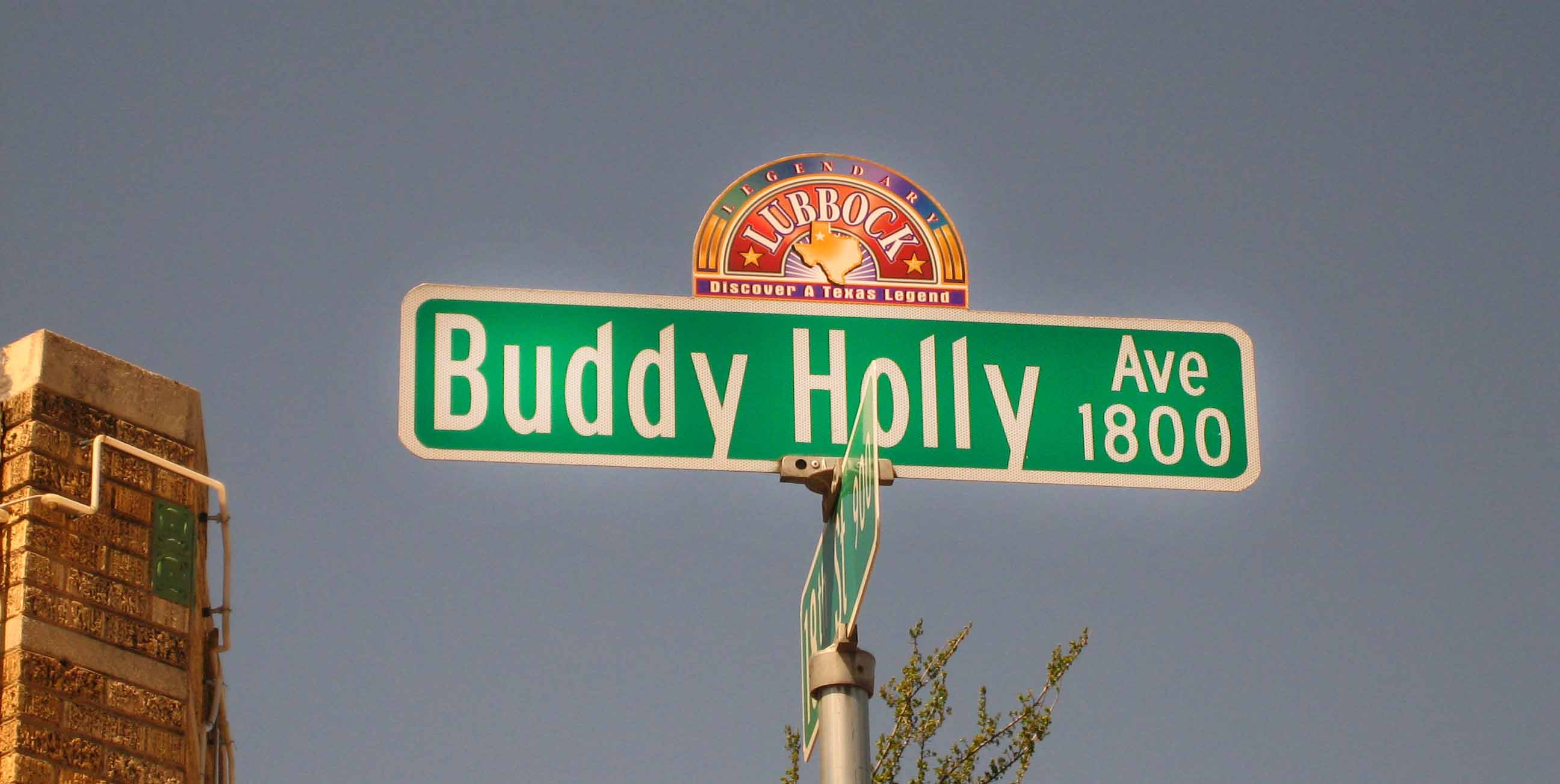 Sign indicating Buddy Holly Avenue in Lubbock.