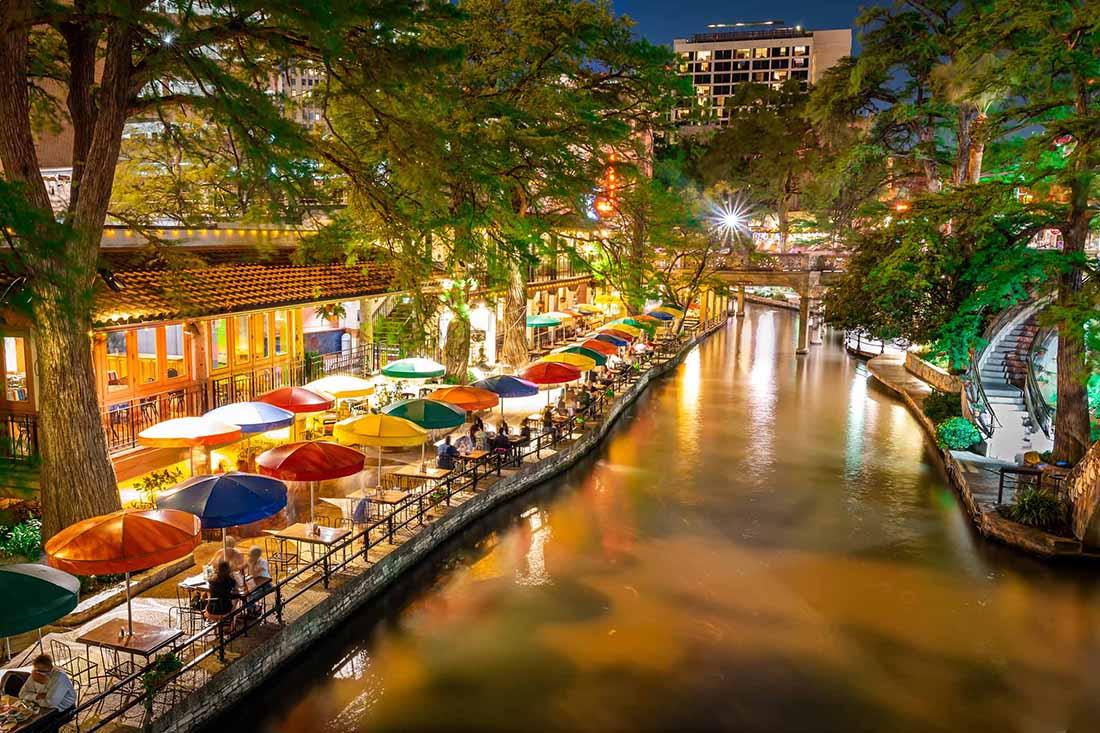 Long exposure night photography of San Antonio Riverwalk