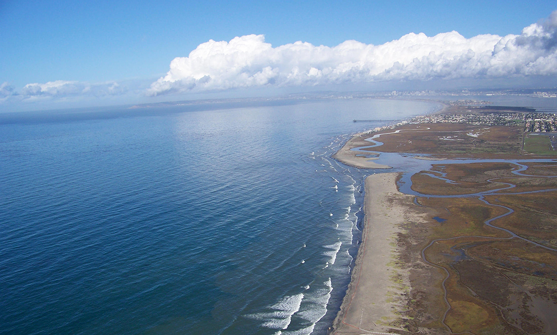 Aerial shot of Tijuana River Estuarian Reserve