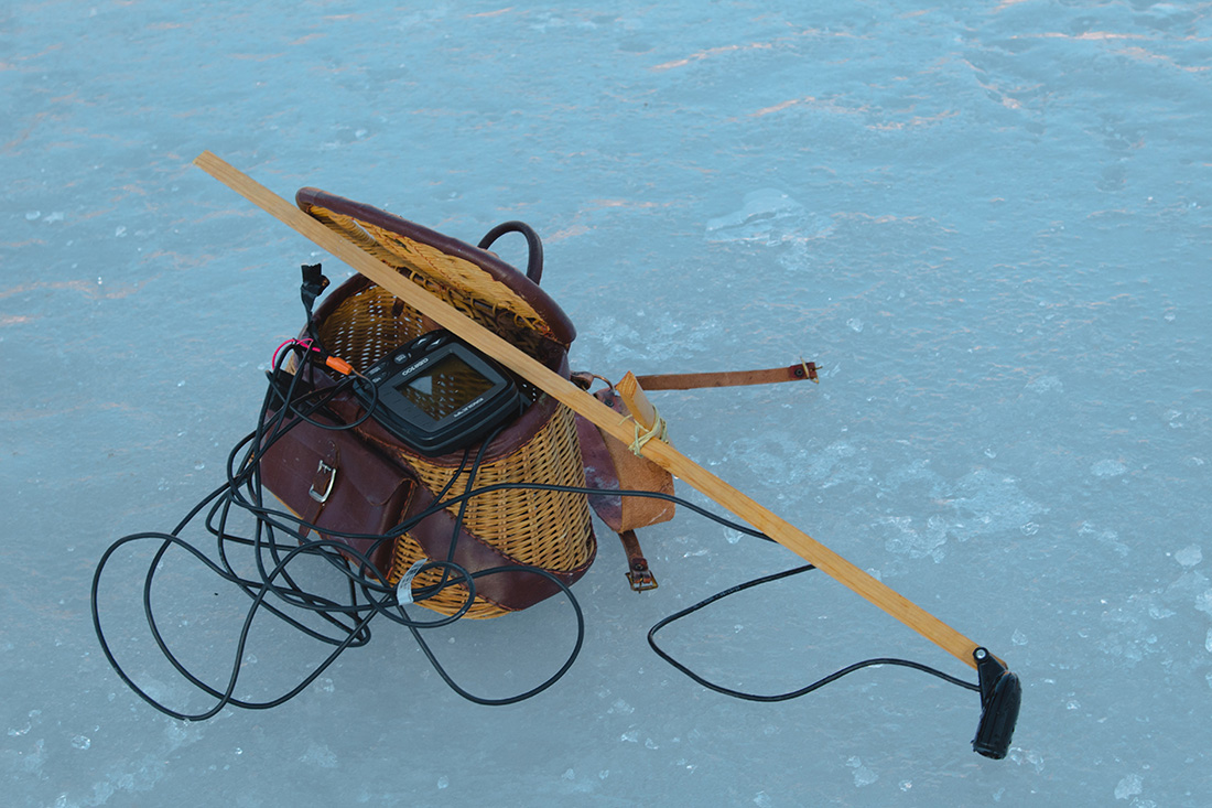 Ice fishing eqiupment and tackle.
