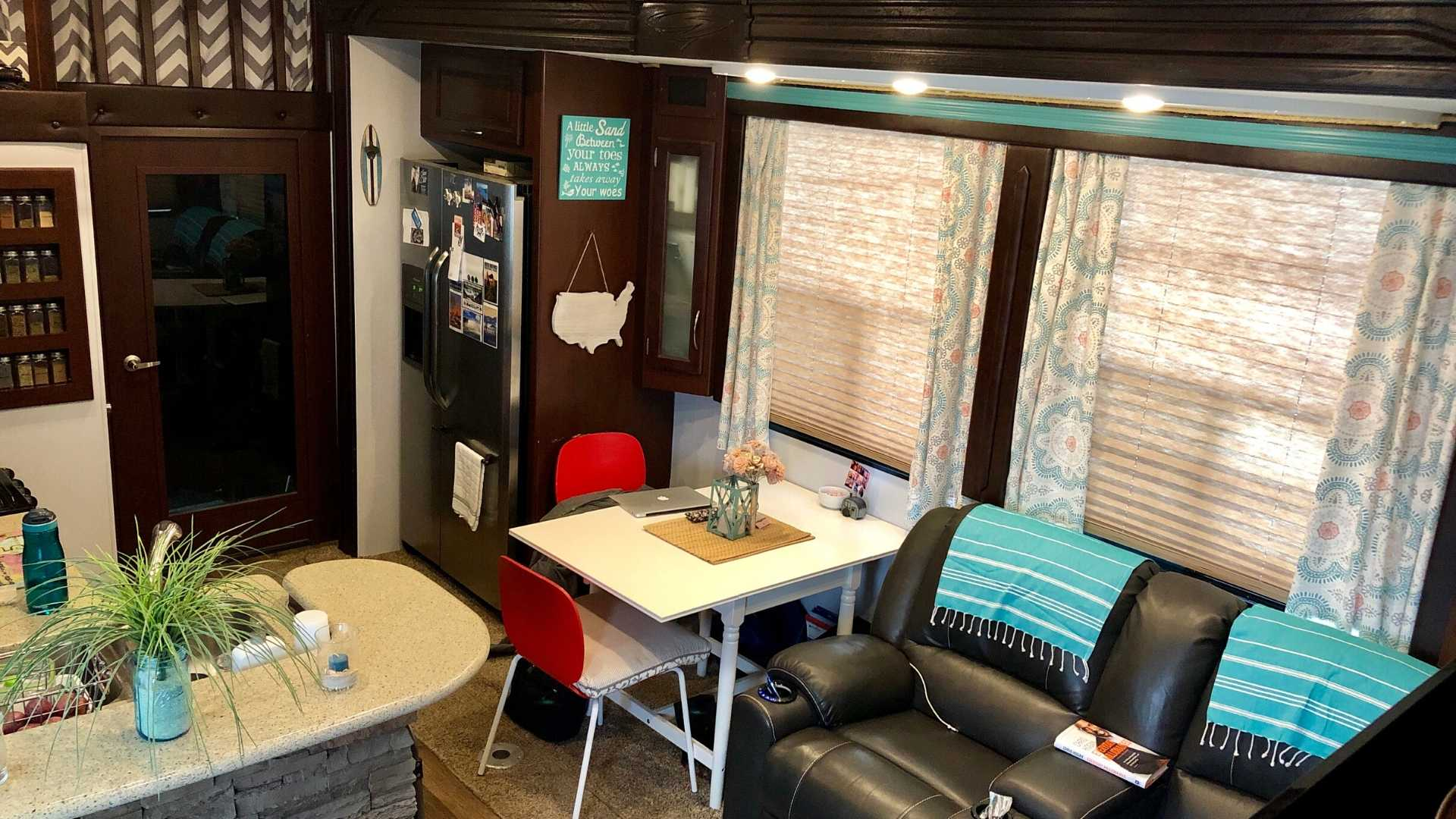 View of an RV's galley area.