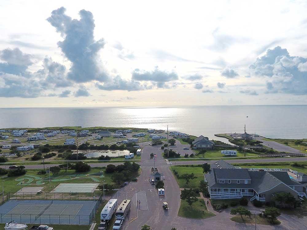 RV resort on the coast of the ocean.