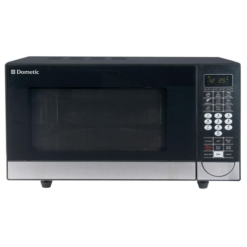 Black convection oven with white background.