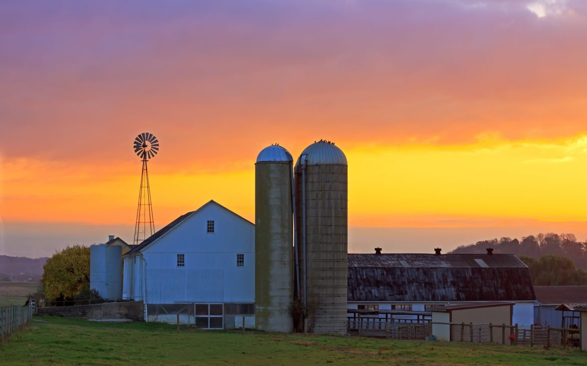 An Amish farm in Lancaster County, Pennsylvania at sunrise.
