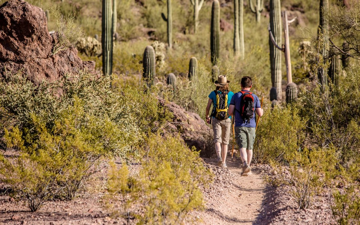 Two Hikers on Rugged Trail in the desert