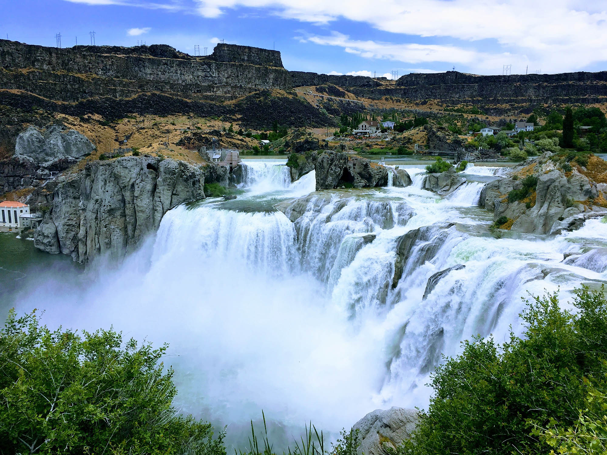 Cascade over rugged stone cliffs in Idaho