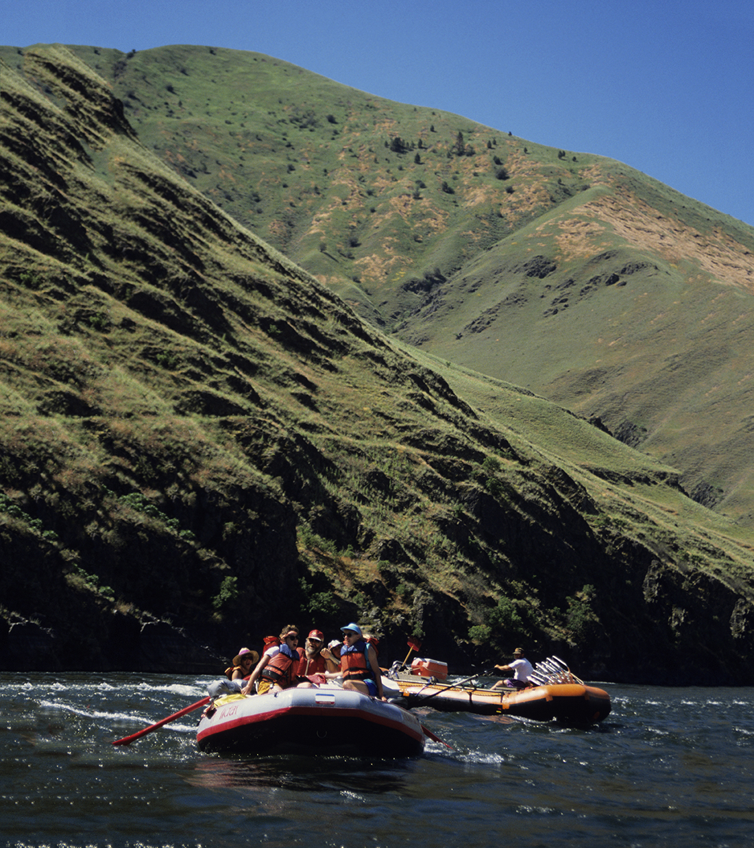 Two rafts navigate mile whitewater