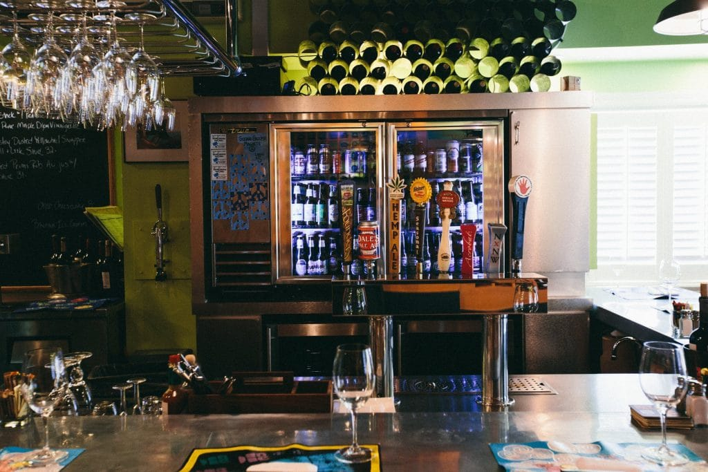 Fully stocked bar with beer taps.