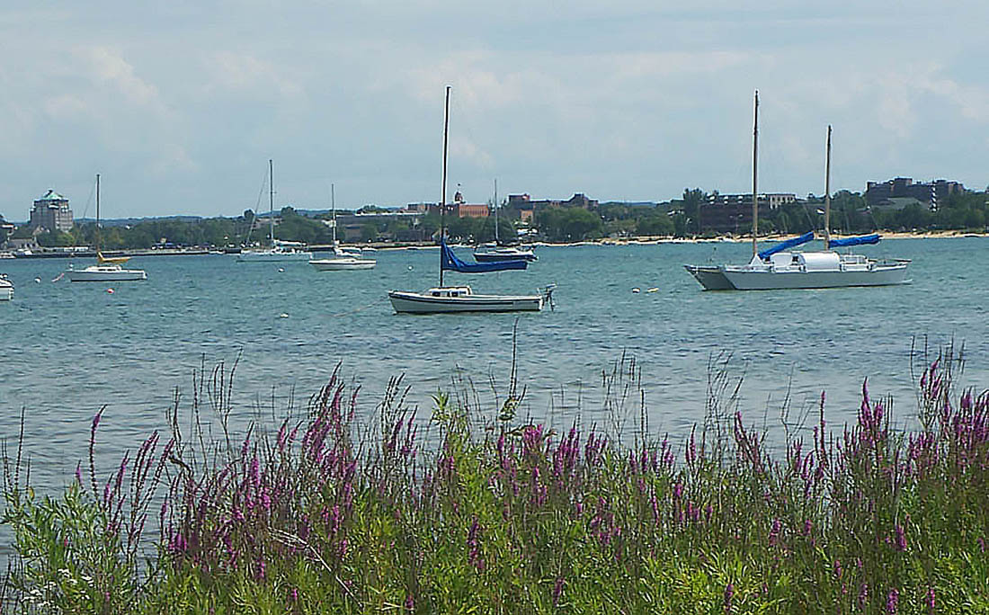 Boats moored on windswept water.