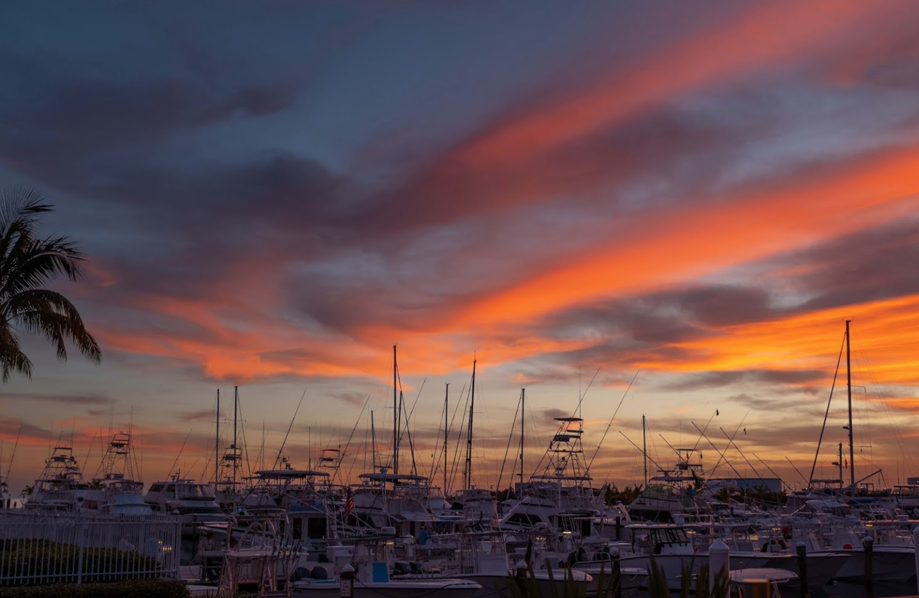 Sunset over boats docked in a marina.