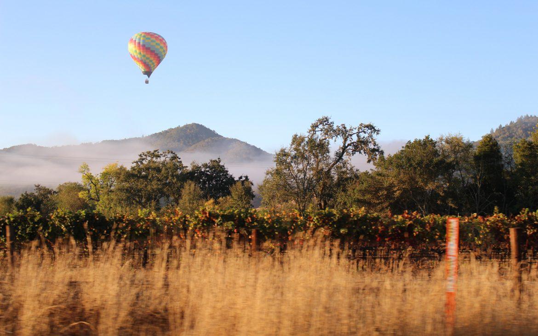Hot air balloon over Napa Valley.