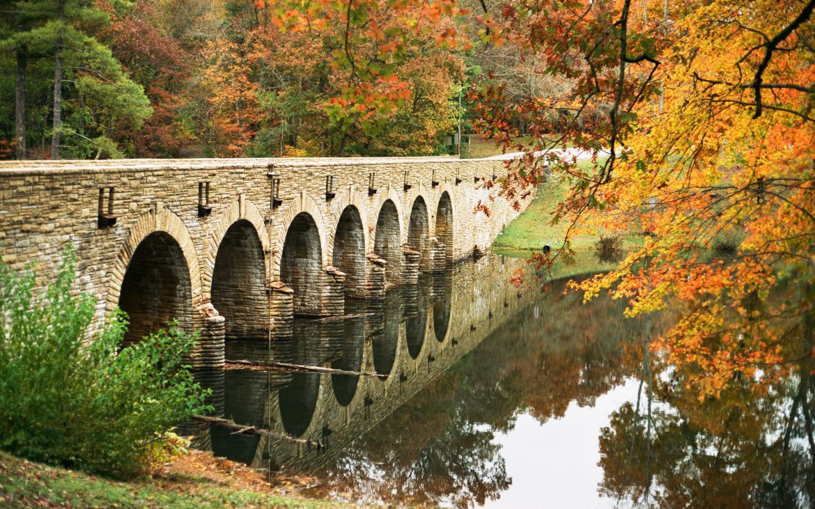 Bridge with fall colored trees in Tennessee