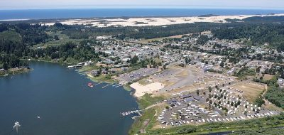 Aerial shot of coastal marina.