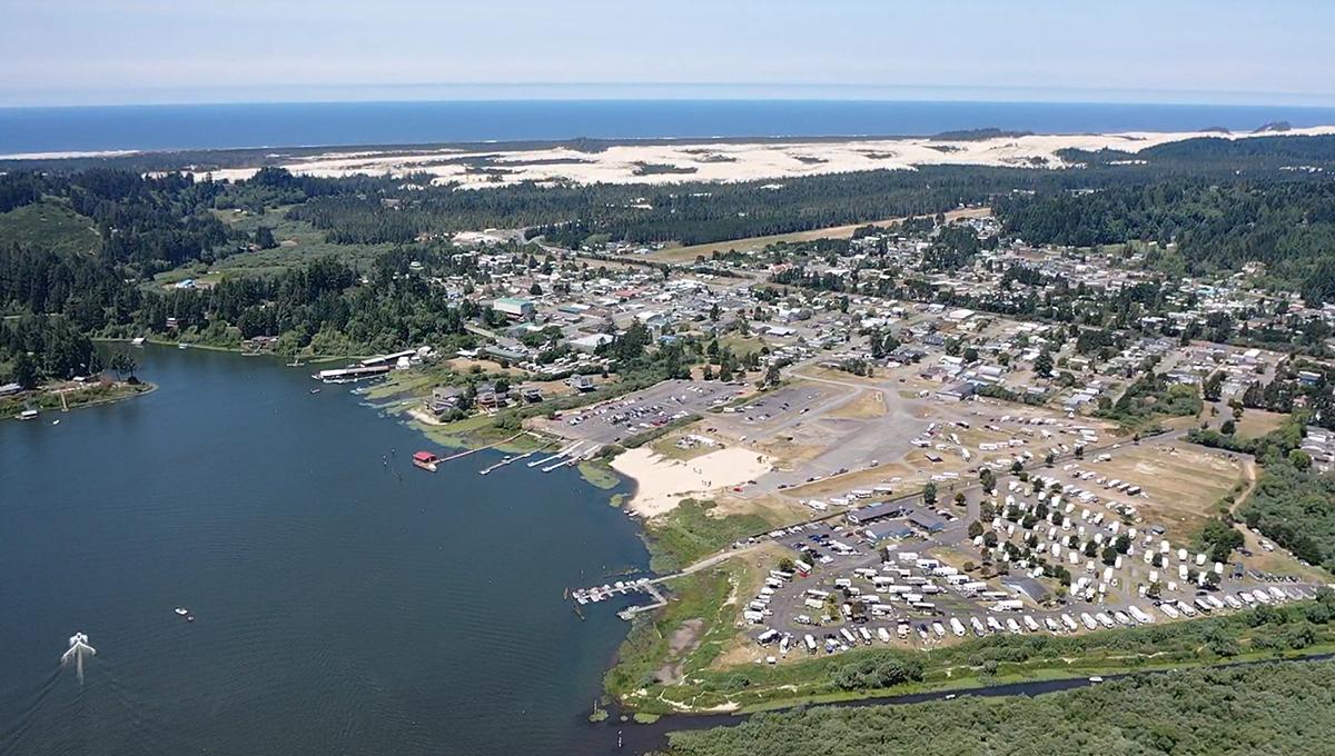 Aerial shot of coastal marina.